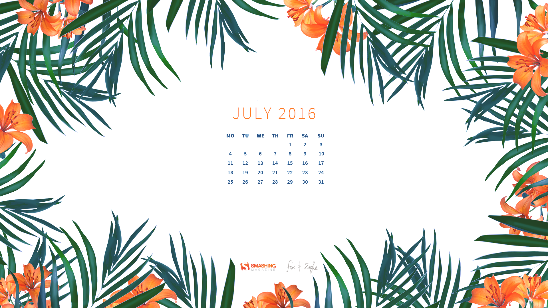 Calendar Background 2016 : Desktop wallpaper calendar iulie touchofadream